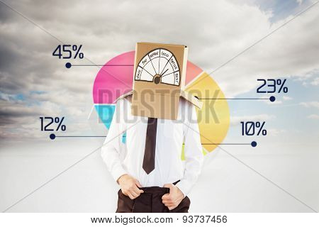 Anonymous businessman with hands in waistband against pie chart in sky