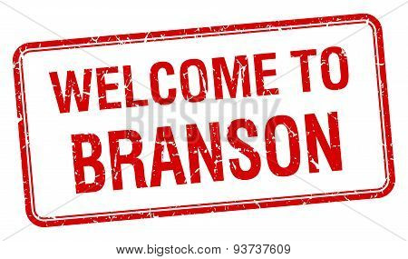Welcome To Branson Red Grunge Square Stamp