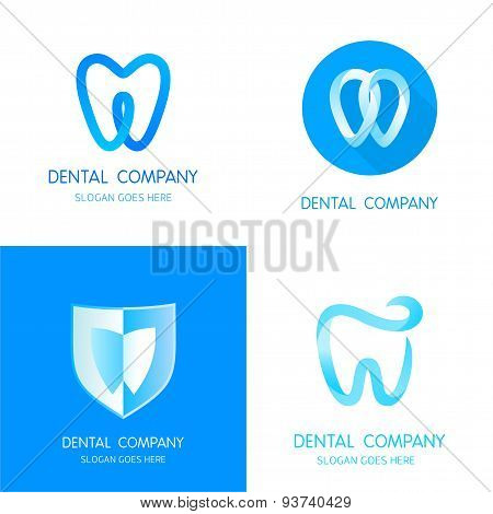 Dental logos templates. Abstract vector teeth signs.