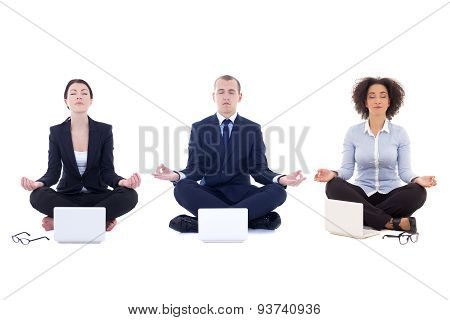Tired Business People Sitting In Yoga Pose With Laptops Isolated On White
