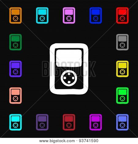 Tetris, Video Game Console Icon Sign. Lots Of Colorful Symbols For Your Design. Vector