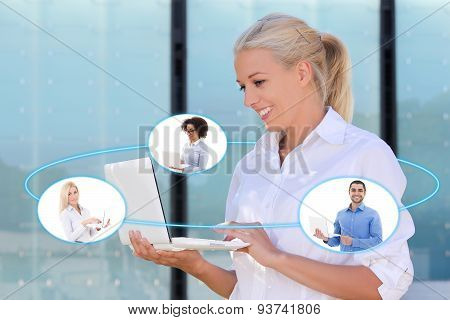 International Business And Internet Concept - Young Business Woman And Her Business Partners