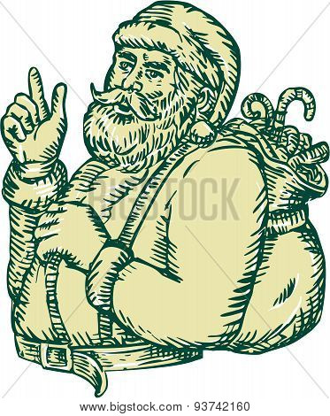 Etching engraving handmade style illustration of santa claus saint nicholas father christmas with sack in his back pointing upwards viewed from the side set on isolated background. poster