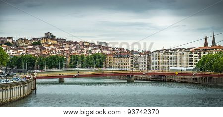 beautiful view from river  Lyon city, France