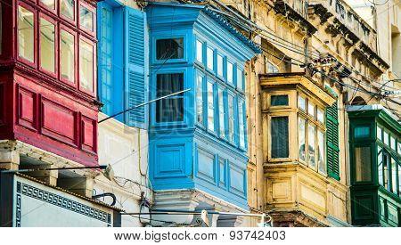 traditional balconies in historical center of Valletta in Malta