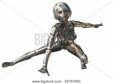Digital 3D Illustration Of A Female Cyborg