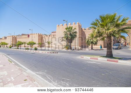 TAROUDANT, MOROCCO, APRIL 9, 2015: Bab Leblaliaa (gate in ancient walls) and defensive walls