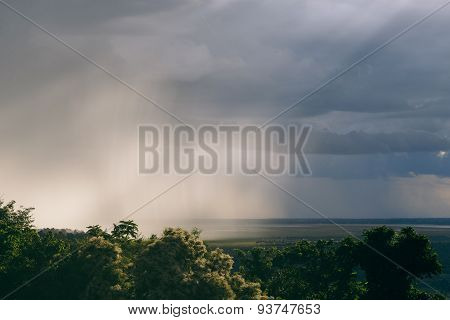 Sunset Coming Storm Cambodia
