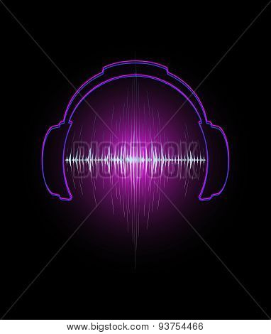 Headphones icon with sound wave beats Vector illustration