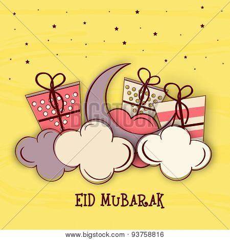 Stylish crescent moon with wrapped gifts on clouds, Elegant greeting card design for Islamic festival, Eid Mubarak celebration.