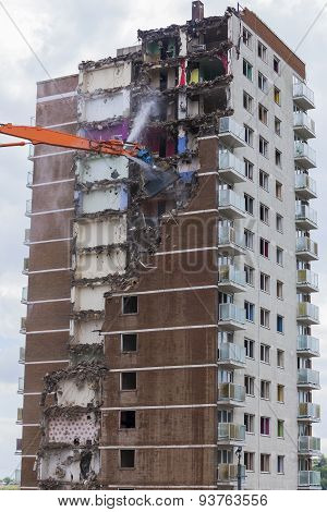 Inner City Demolition Of High Rise Building