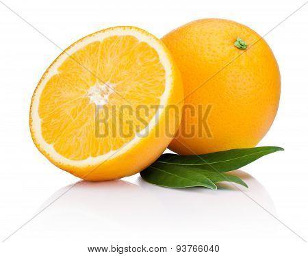 Fresh Orange Fruit With Half And Leaves Isolated On White Background