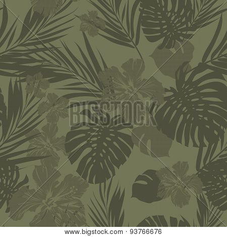 Tropical seamless monochrome khaki camouflage background with leaves and flowers