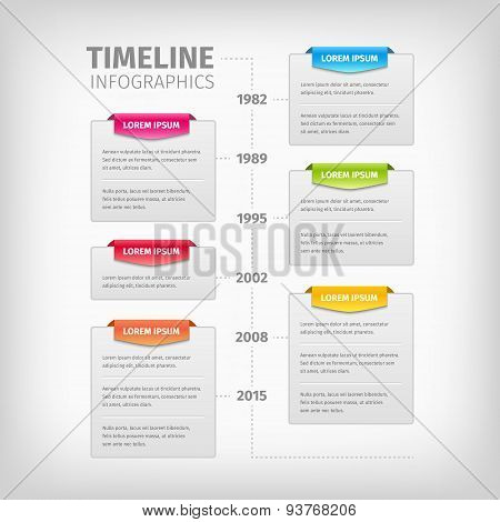Timeline Infographics with soft gray boxes and border.
