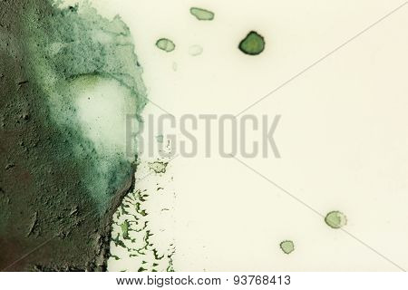 Dark watercolor dry paint spots, marks, and splotches, shot on white plastic palette surface, symbolizing messy conditions surrounding arts production and tests poster