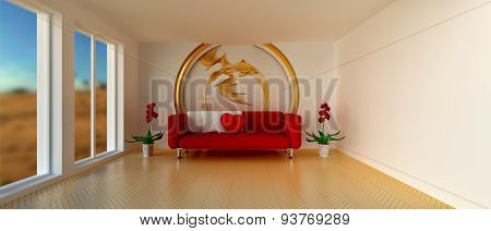 Room With Sofa And Golden Dragon Decoration