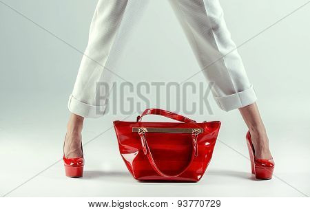 Beautiful  Female Feet In Red Shoes And  Bag