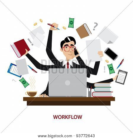 Busy businessman at workplace