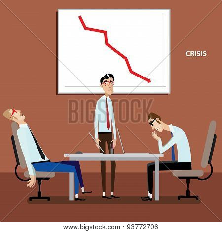 Businessmen on meeting with negative graph