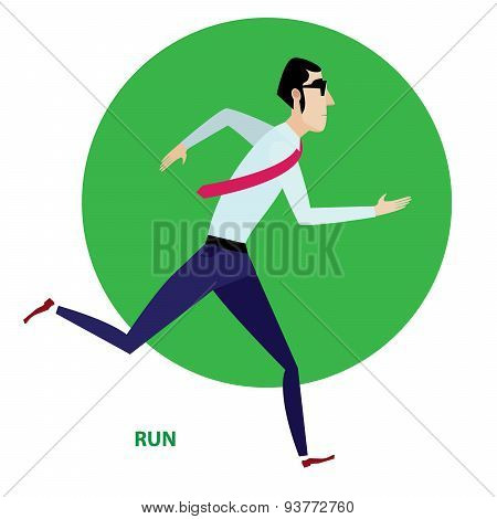 Running businessman in suit