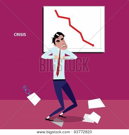 Angry businessman with negative graph