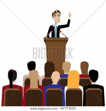 Businessman public speaking
