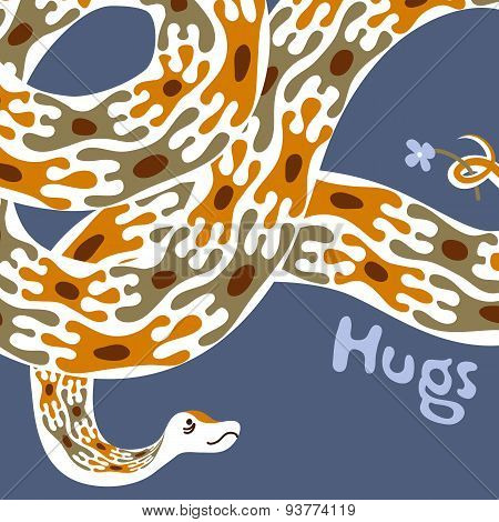 Greeting Card Design Template. Hand-drawn Cute Animal Character Illustration. Boa Constrictor Giving