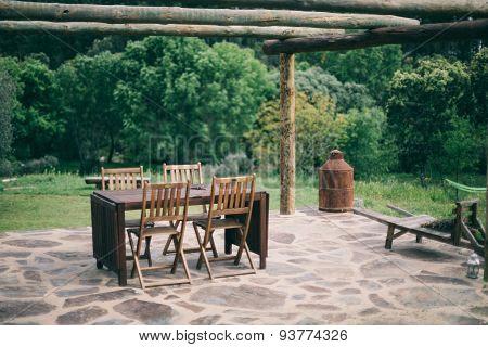 Wooden Table Terrace bokeh
