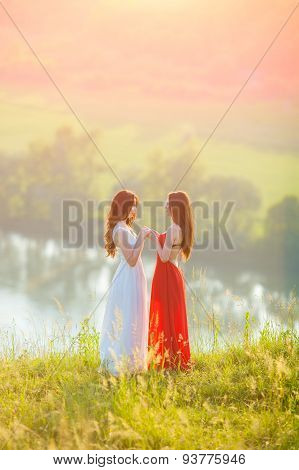 Two Young Women Enjoying Nature