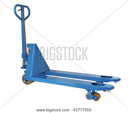 Blue Hydraulic Hand Pallet Truck Isolated On White Background