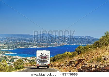 Caravan On The Road At The Mediterranean Shore