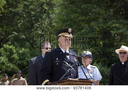 NEW YORK - MAY 25 2015: Brig. General Thomas Principe, NYARNG (Ret) at the podium to speak at the Memorial Day Observance service at the Soldiers and Sailors Monument during Fleet Week NY 2015.