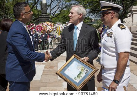 NEW YORK - MAY 25 2015: Secretary of the Navy (SECNAV) Ray Mabus with Peter Galasinao and LCDR Evan Dash, USN (Ret) of the Soldiers and Sailors Memorial Assoc. at the Memorial Day Observance service.