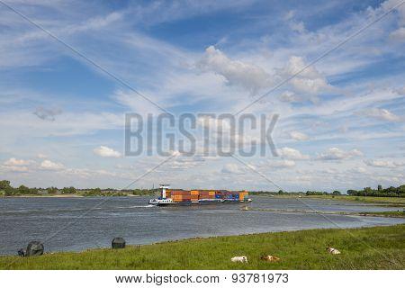 River Waal And Ship