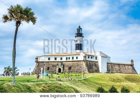 BAHIA, BRAZIL - CIRCA NOVEMBER 2014: Barra Lighthouse (Farol da Barra) in Salvador, Brazil.