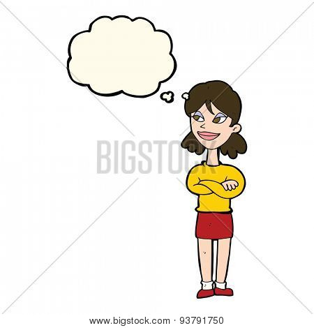 cartoon smug woman with thought bubble