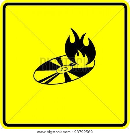 disc burning sign