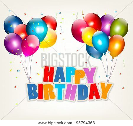 Balloons Holding A Happy Birthday Sign. Celebration Vector.