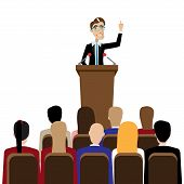 Vector illustration on white background featuring public speaking businessman in front of people poster
