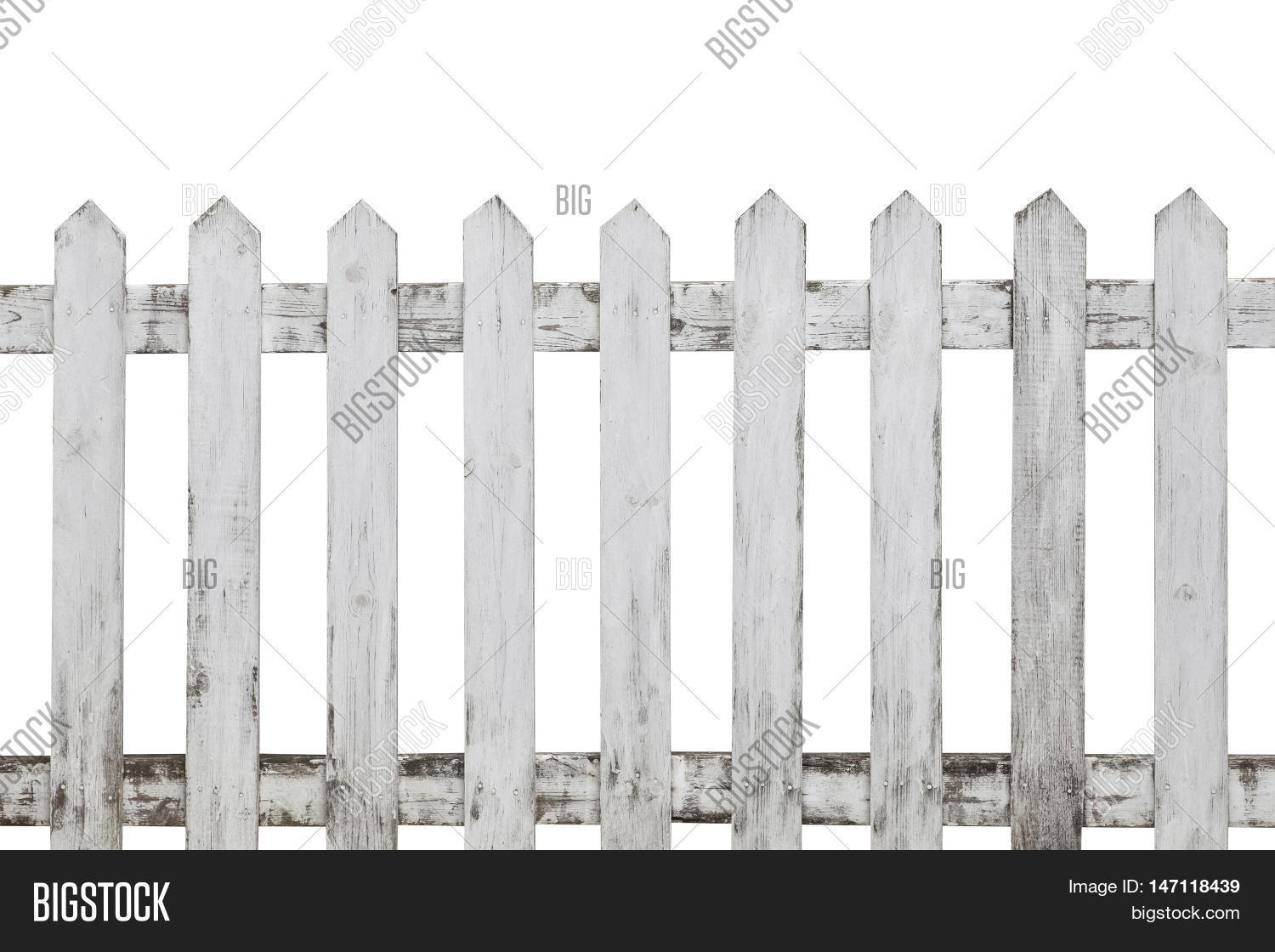 Old White Wooden Picket Fence Isolated On Background Wood
