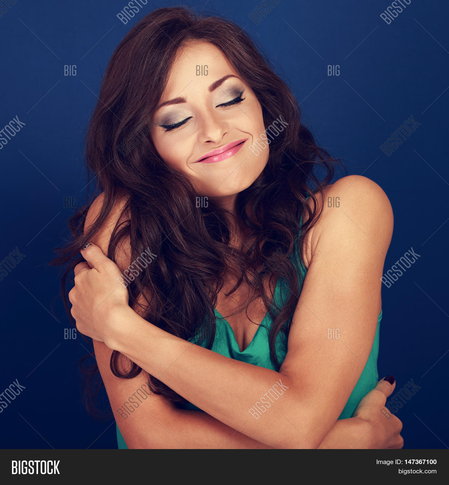 Imagen y foto happy makeup woman prueba gratis bigstock happy makeup woman hugging herself with natural emotional enjoying face love concept of yourself bo solutioingenieria