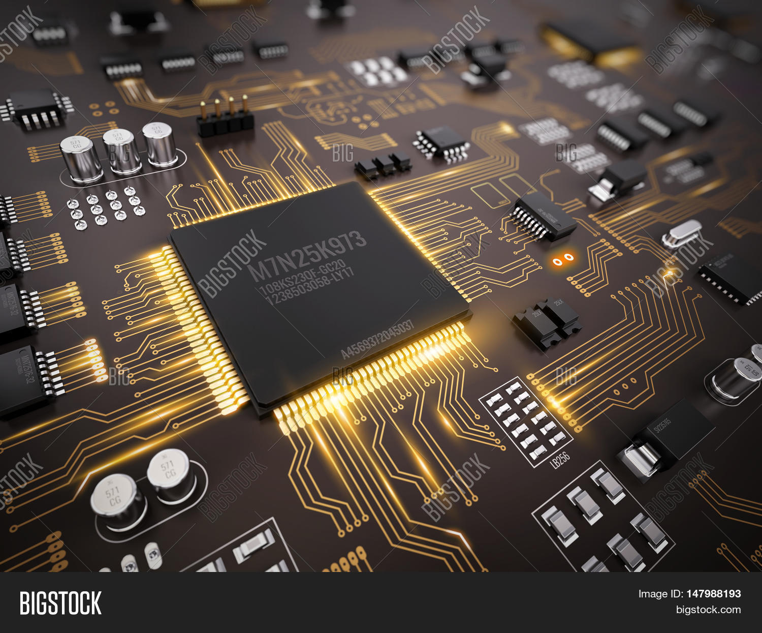 High Tech Electronic Image Photo Free Trial Bigstock Stockfoto Printed Circuit Board Pcb Used In Industrial With Processor Microchips And Glowing Digital