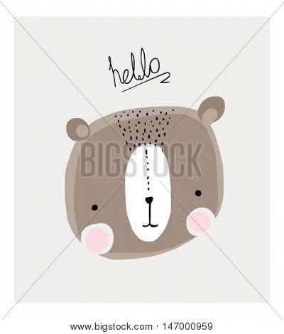 little cartoon sweet bear illustration