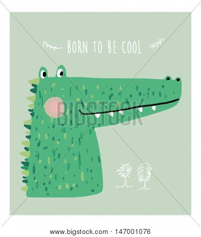 little cartoon alligator illustration