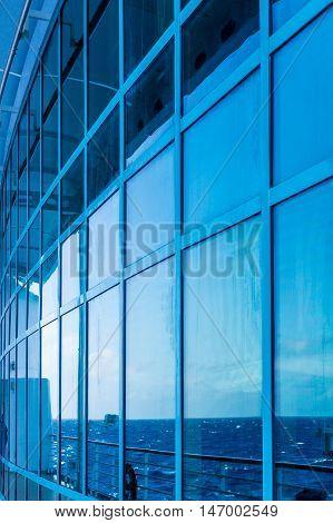 Blue Atrium Windows at Sea on Cruise Ship