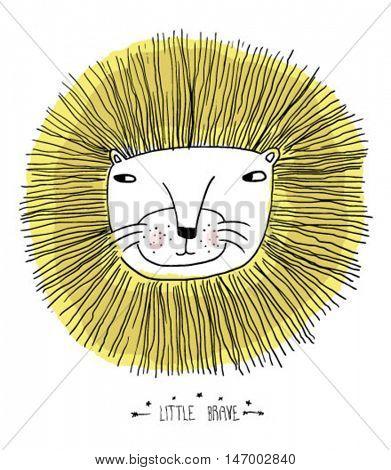 sketch little lion illustration