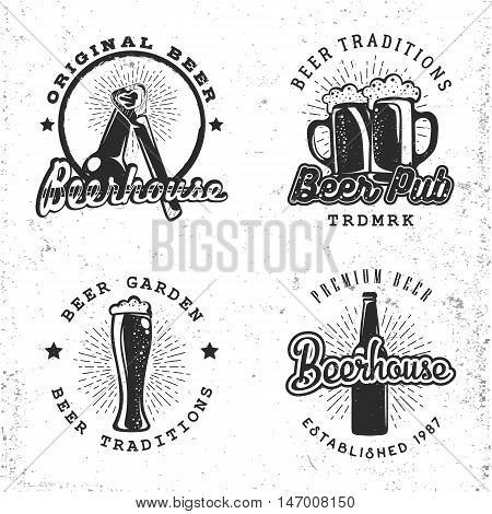 Set of logos beer concepts. Labels in retro vintage style with sunburst and lettering, for brewery, beerhouses and pubs. Vector illustration.
