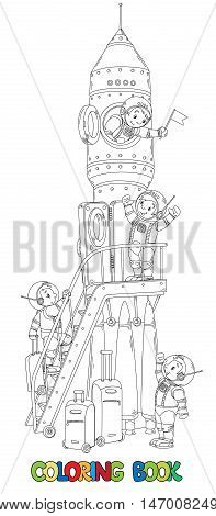 Coloring book or line drawing of rocket and four small smiley boys-astronauts. Children vector illustration