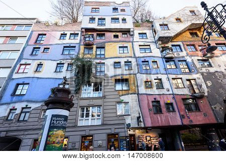 Vienna, AUSTRIA - NOVEMBER 14, 2015: Photo of hundertwasser house with colorful facade
