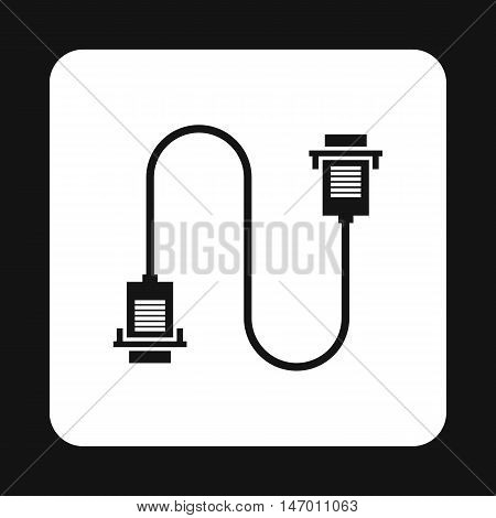 Cord VGA icon in simple style isolated on white background. Cable symbol vector illustration